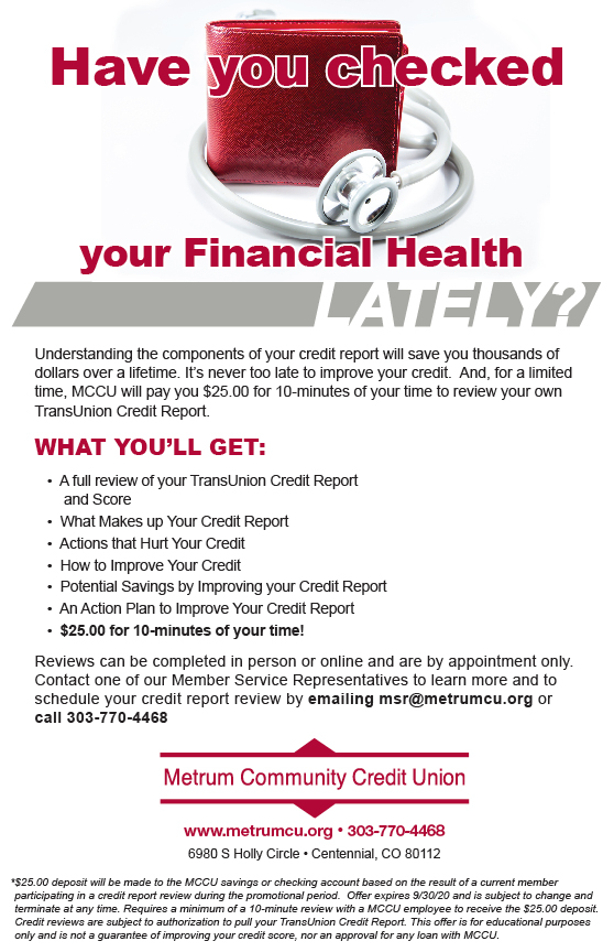 How's Your Financial Health. Call us for a free credit review and receive $25