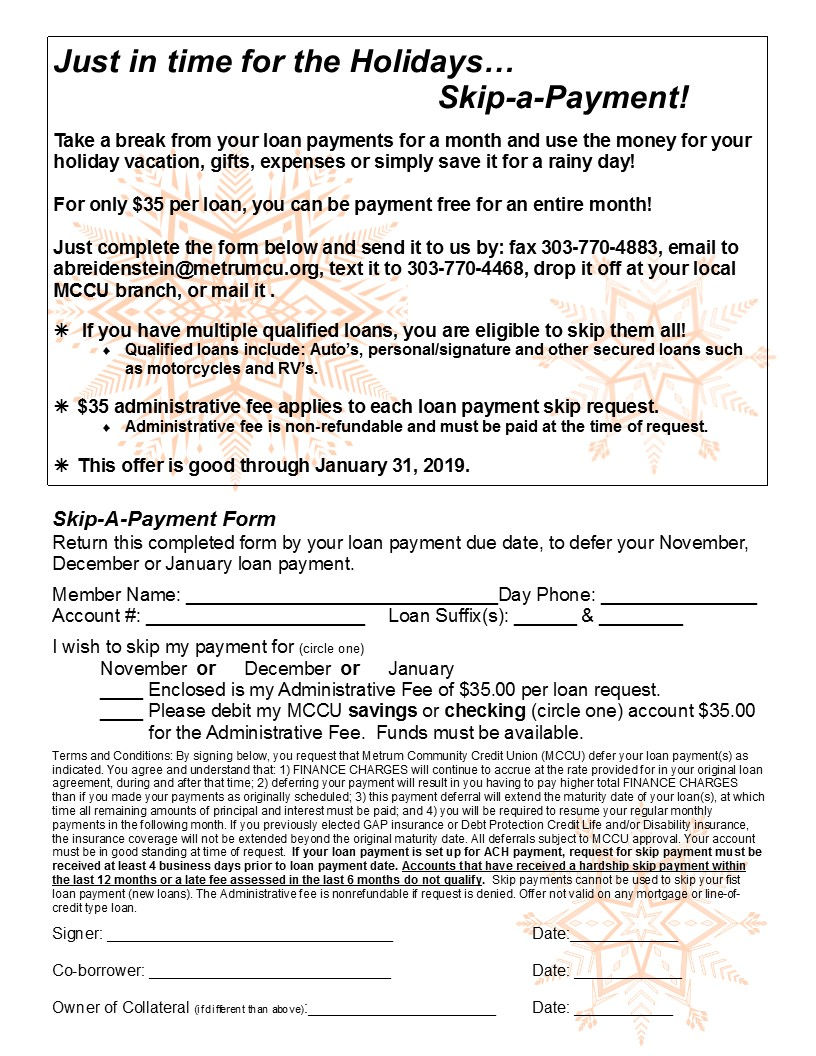 Holiday skip payment form